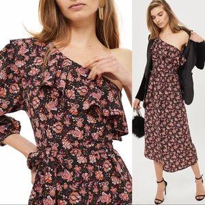 Topshop Print Ruffle One-Shoulder Midi Dress